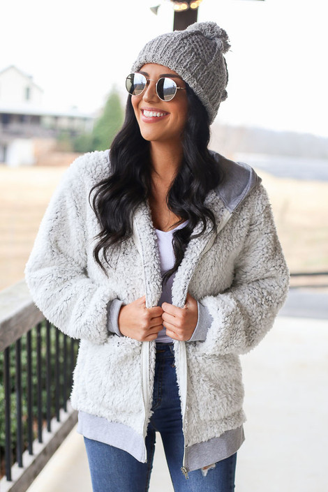 Grey - Heather Knit + Sherpa Jacket from Dress Up