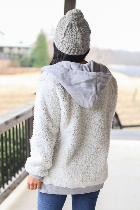 Heather Knit + Sherpa Jacket Back View