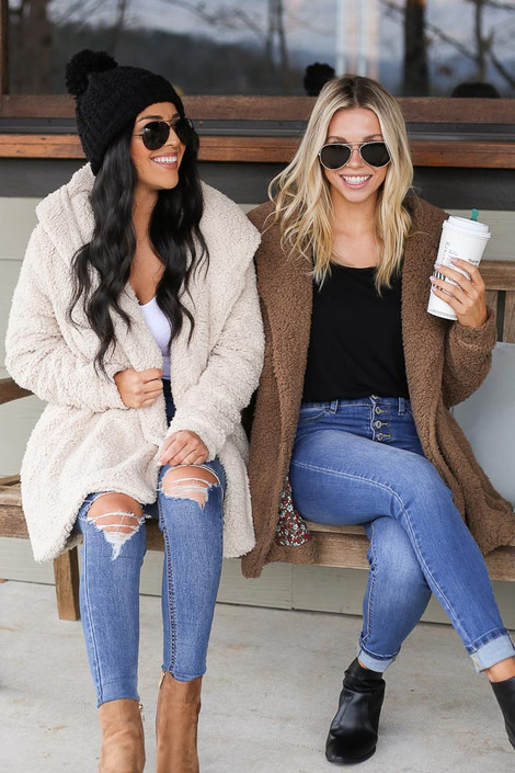 Mocha - Hooded Sherpa Teddy Jacket