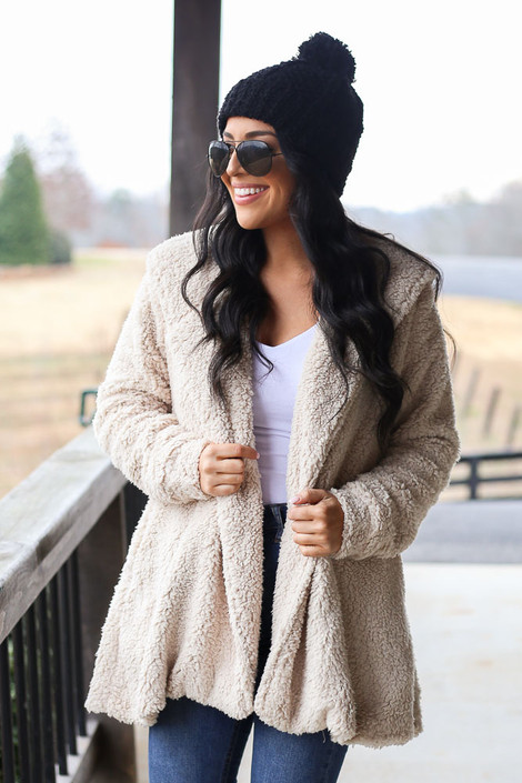 Taupe - Hooded Sherpa Teddy Jacket in Taupe
