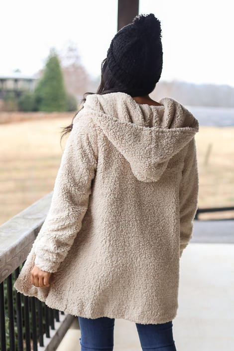 Hooded Sherpa Teddy Jacket in Taupe Back View