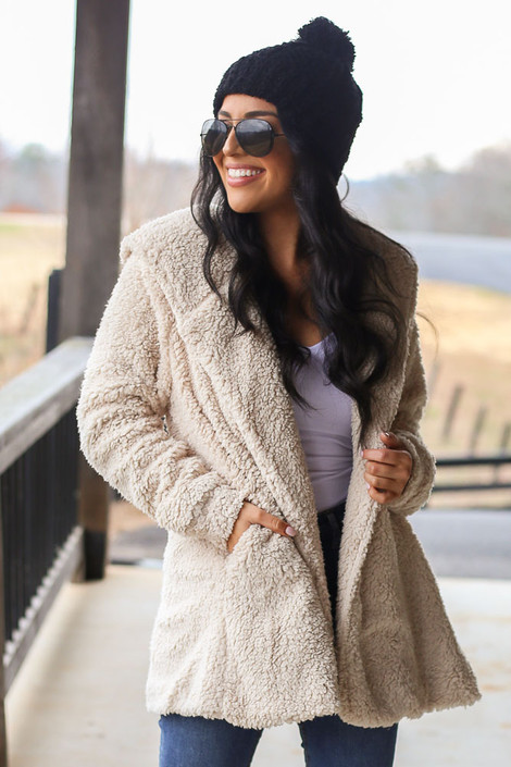 Dress Up model wearing the Hooded Sherpa Teddy Jacket in Taupe