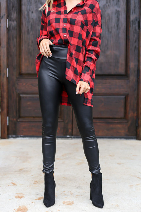 Black - Faux Leather Leggings