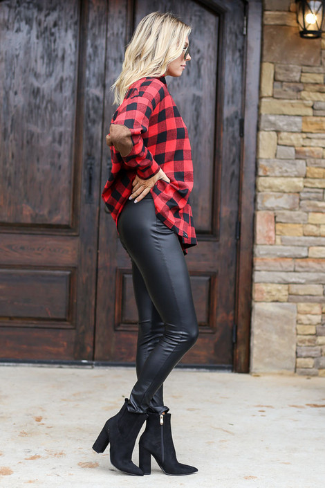 Faux Leather Leggings Side View