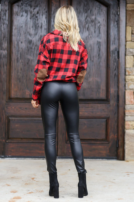 Faux Leather Leggings Back View