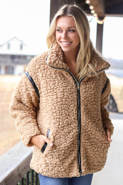Taupe - Shaggy Teddy Jacket