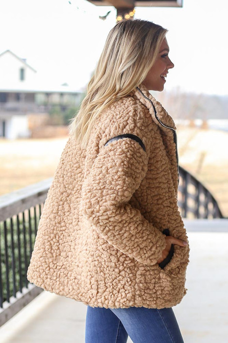 Model wearing the Shaggy Teddy Jacket from Dress Up Side View