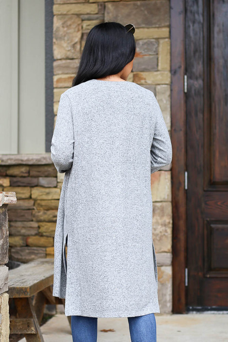 Heather Grey - Brushed Knit Longline Cardigan Back View