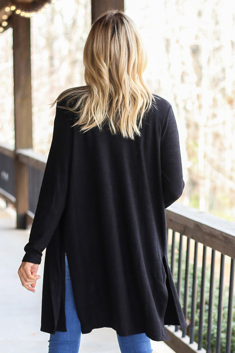 Brushed Knit Longline Cardigan in Black Back View