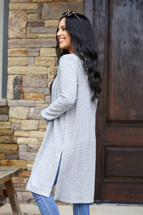 Brushed Knit Longline Cardigan in Heather Grey Side View