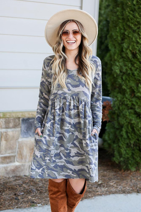 Camo - French Terry Babydoll Dress