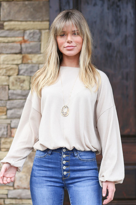 Taupe - Ribbed Balloon Sleeve Top in Taupe