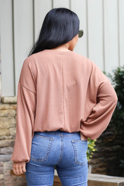 Ribbed Balloon Sleeve Top in Rust Back View