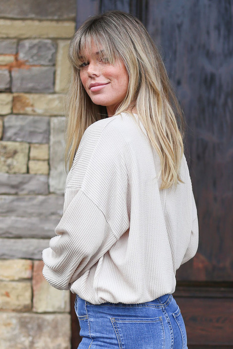 Ribbed Balloon Sleeve Top in Taupe Side View