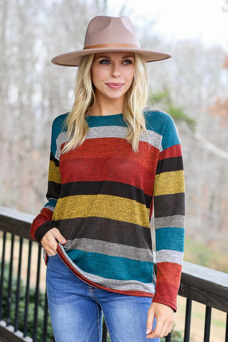 Rust - Striped Twist Back Top