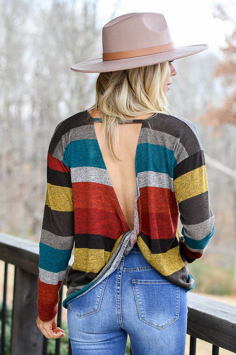Rust - Striped Twist Back Top Back View
