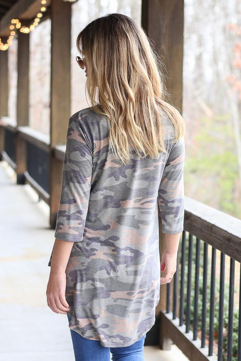 Model wearing Camo Babydoll Tunic Back View