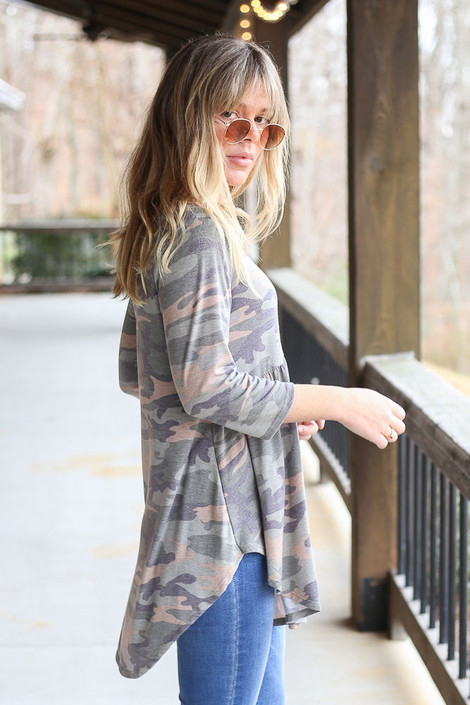 Model wearing Camo Babydoll Tunic Side View