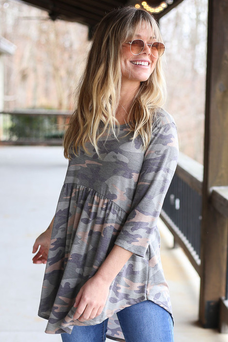 Model wearing the Camo Babydoll Tunic