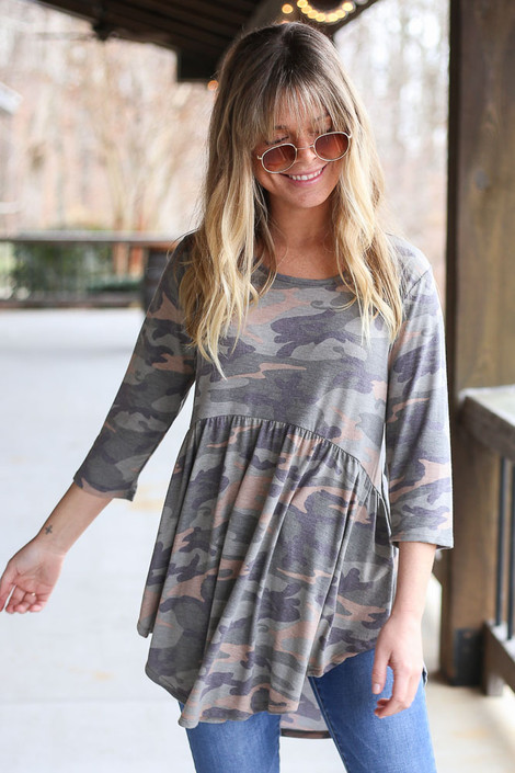 Dress Up model wearing the Camo Babydoll Tunic