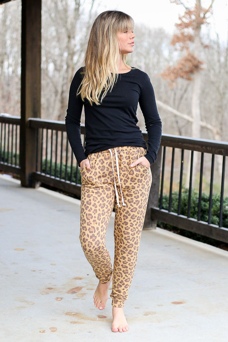 Camel - Leopard Fleece Lined Joggers