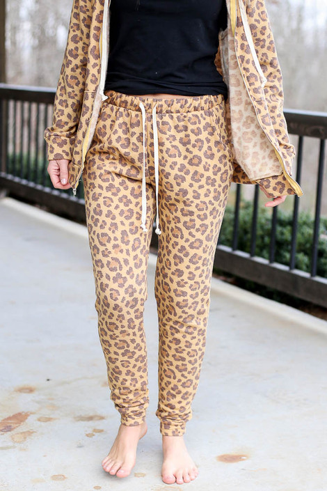Camel - Leopard Fleece Lined Joggers from Dress Up