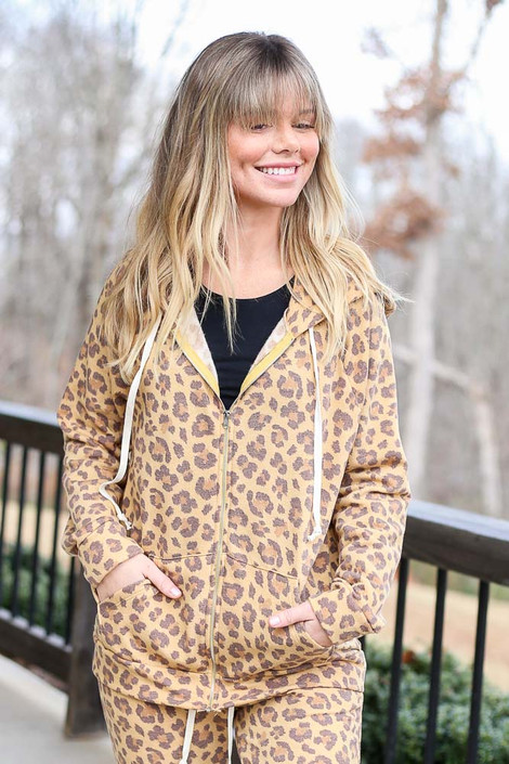 Model wearing the Camel Leopard Fleece Lined Jacket with matching Leopard Fleece Joggers Front View