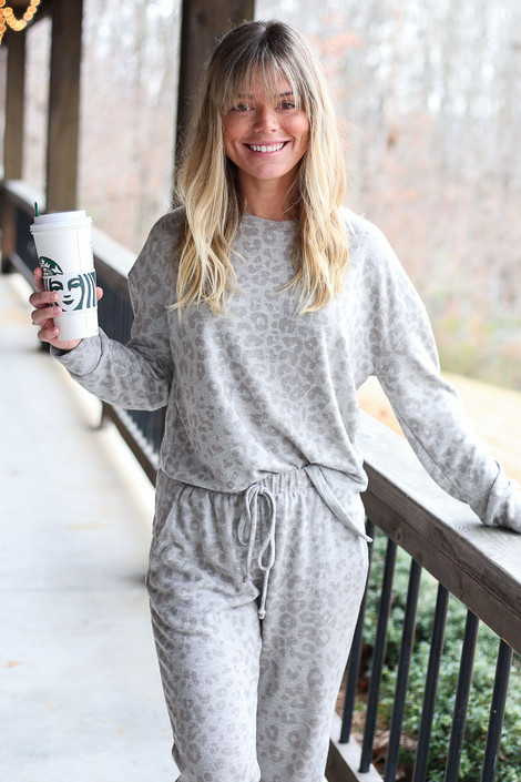Grey - Leopard Brushed Knit Pullover from Dress Up