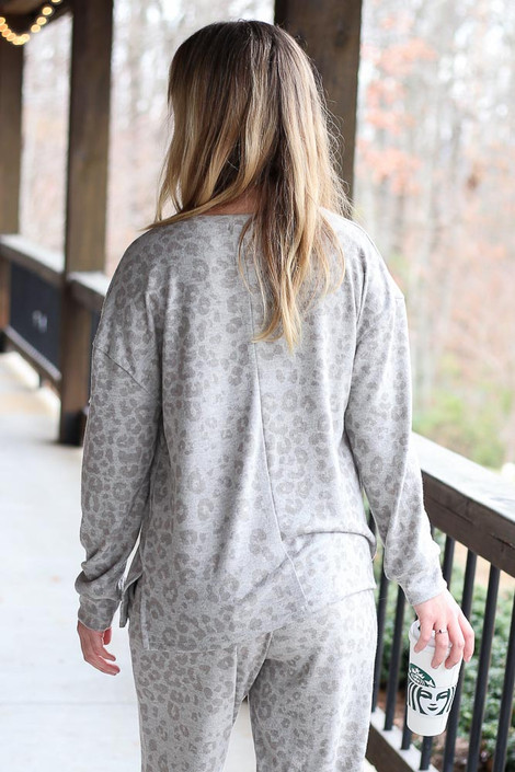 Leopard Brushed Knit Pullover Back View