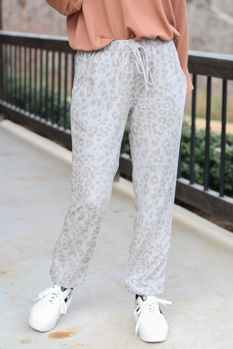 Grey - Leopard Brushed Knit Joggers from Dress Up