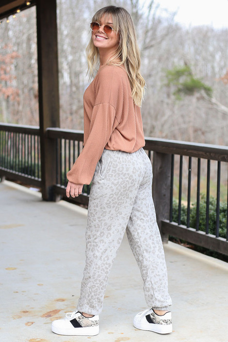 Leopard Brushed Knit Joggers Side View