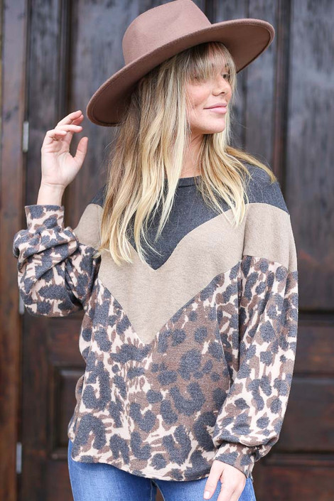 Camel - Color Block Brushed Knit Pullover from Dress Up