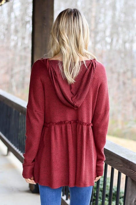 Burgundy -  Model wearing the Waffle Knit Babydoll Hoodie in Burgundy from Dress Up Back View