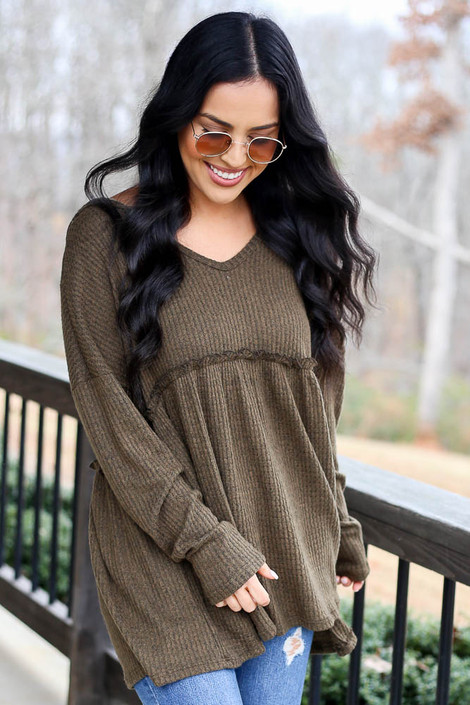 Olive - Waffle Knit Babydoll Hoodie
