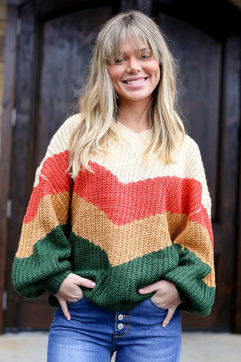 Model from Dress Up wearing the Green Color Block Balloon Sleeve Sweater Front View
