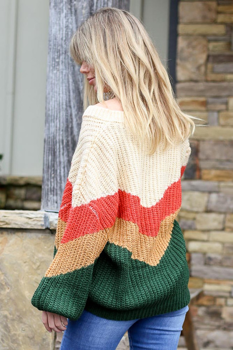 Model wearing the Green Color Block Balloon Sleeve Sweater with high rise jeans Side View