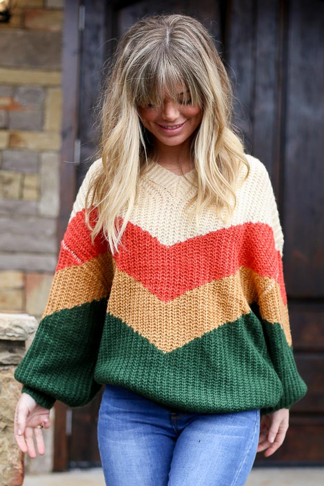 Model wearing the Green Color Block Balloon Sleeve Sweater Front View