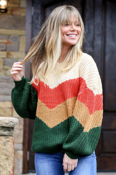 Green - Color Block Balloon Sleeve Sweater