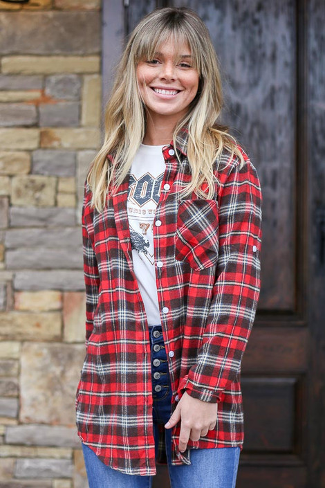 Red - Longline Oversized Flannel