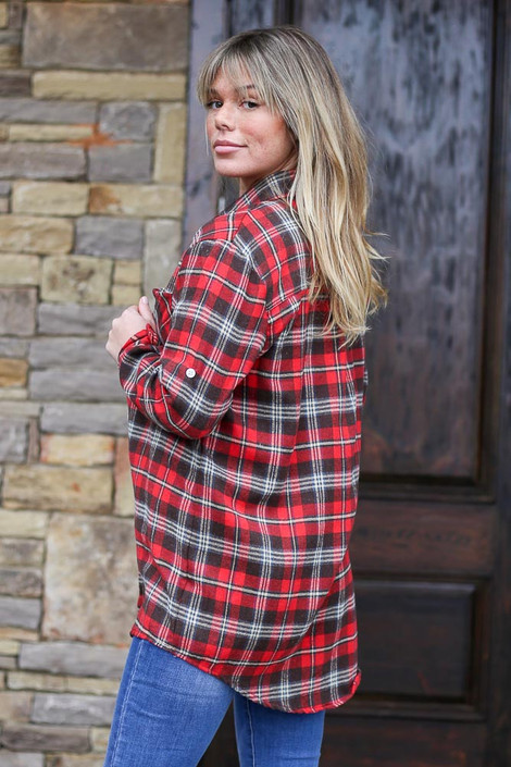 Red - Longline Oversized Flannel Side View