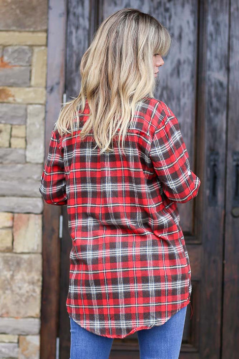 Longline Oversized Flannel Back View