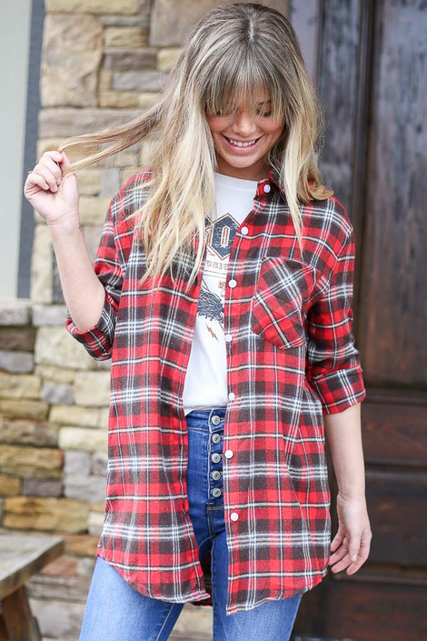Red - Model wearing the Longline Oversized Flannel