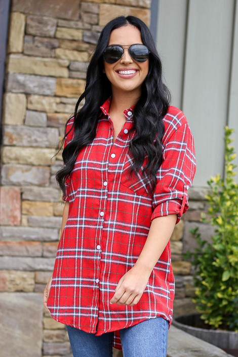 Red - Longline Oversized Flannel from Dress Up