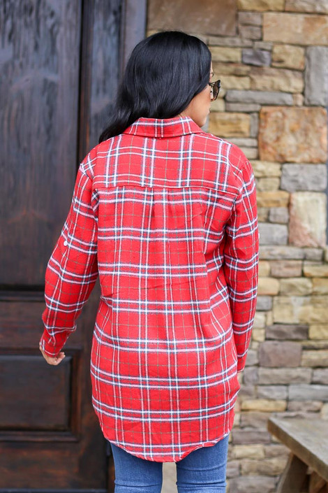Longline Oversized Flannel in Red Back View