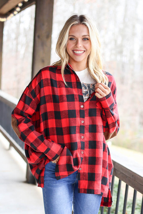 Red - Buffalo Plaid Oversized Button Up Top