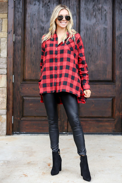 Model wearing the Red Buffalo Plaid Oversized Button Up Top from Dress Up Full Outfit View