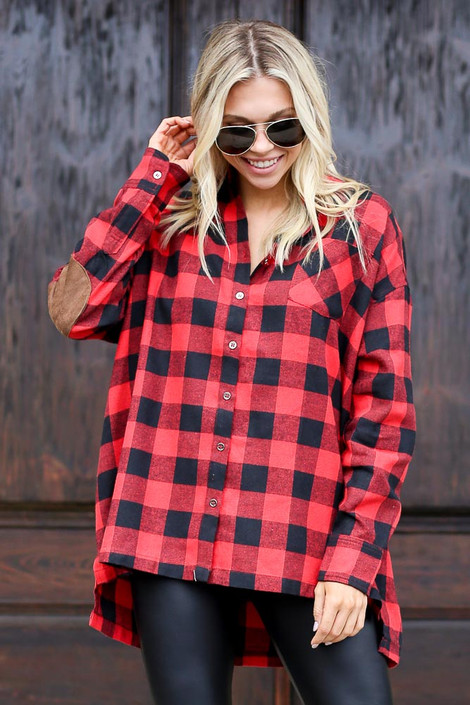 Model Close Up wearing the Red Buffalo Plaid Oversized Button Up Top from Dress Up Front View