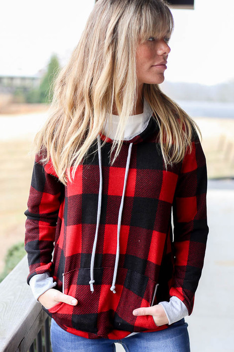 Red - Buffalo Plaid Hoodie from Dress Up