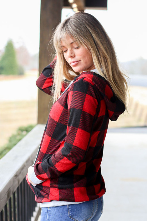 Buffalo Plaid Hoodie Side View