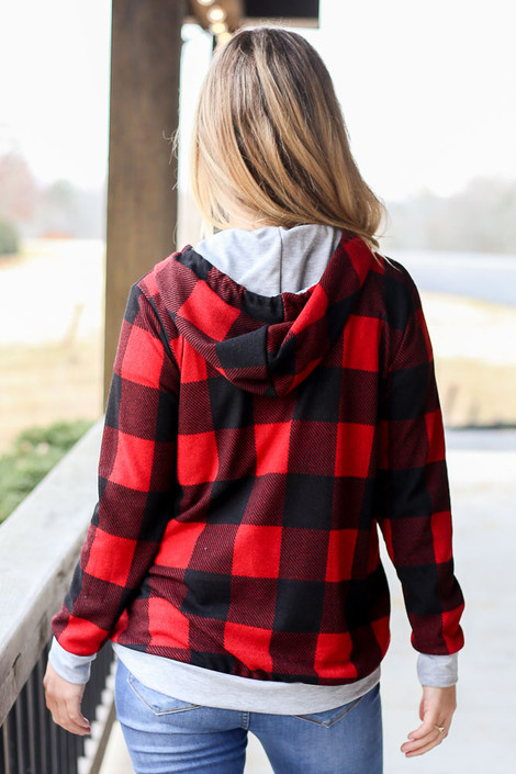 Buffalo Plaid Hoodie Back View